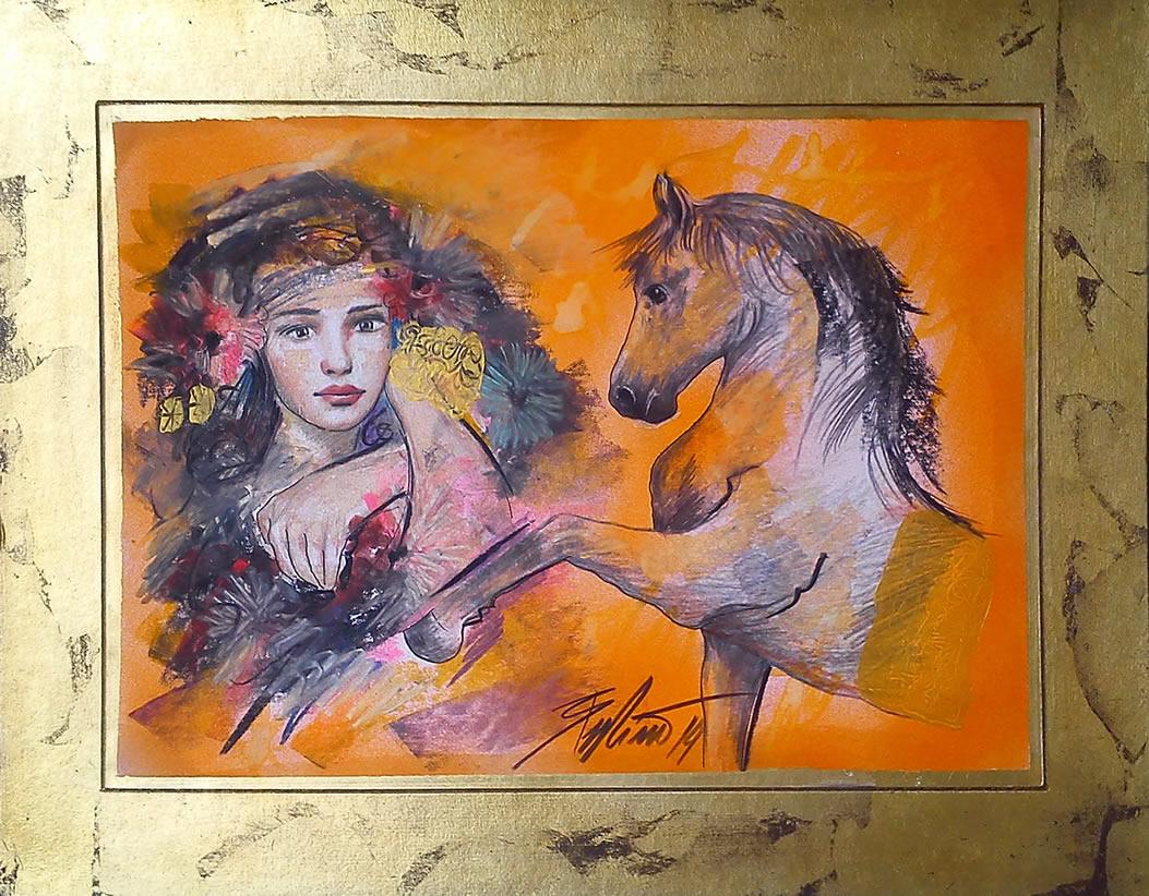 branko budimir djevojka sa konjem kombinirana tehnika 60x65cm 1200 00